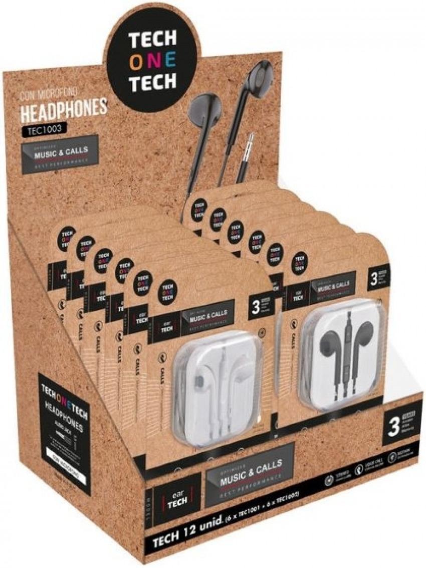 Expositor 12 auriculares ergonomicos eartech 6 de color blanco y 6 negros 8436546593140