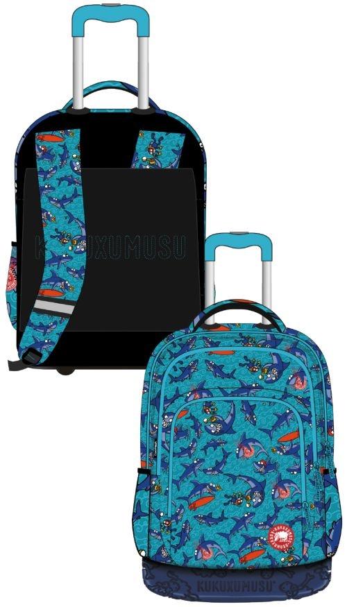 Mochila escolar triple con ruedas tiburones magnus 47x24x30cm 8446322752012
