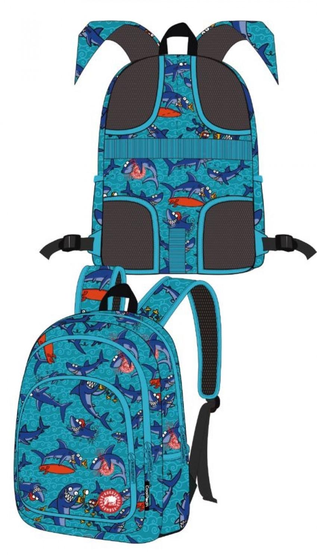 Mochila escolar triple tiburones moon adaptable carro 8446322752081