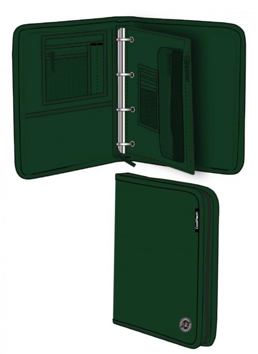 Carpeta a4 con anillas y cremallera green melange wind 8446322782071