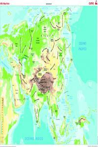 Mapa mural Asia (físico/político) 1285x915mm 8482890002302