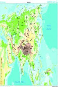 Mapa Mural Asia (físico/político) galego 1285x915 mm 8482890002319