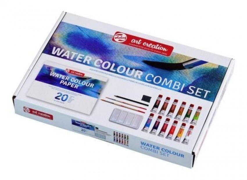 Combi set 12 tubos acuarela 20ml + bloc a4, pinceles, recipiente para mezclas, lapiz y goma 87120792