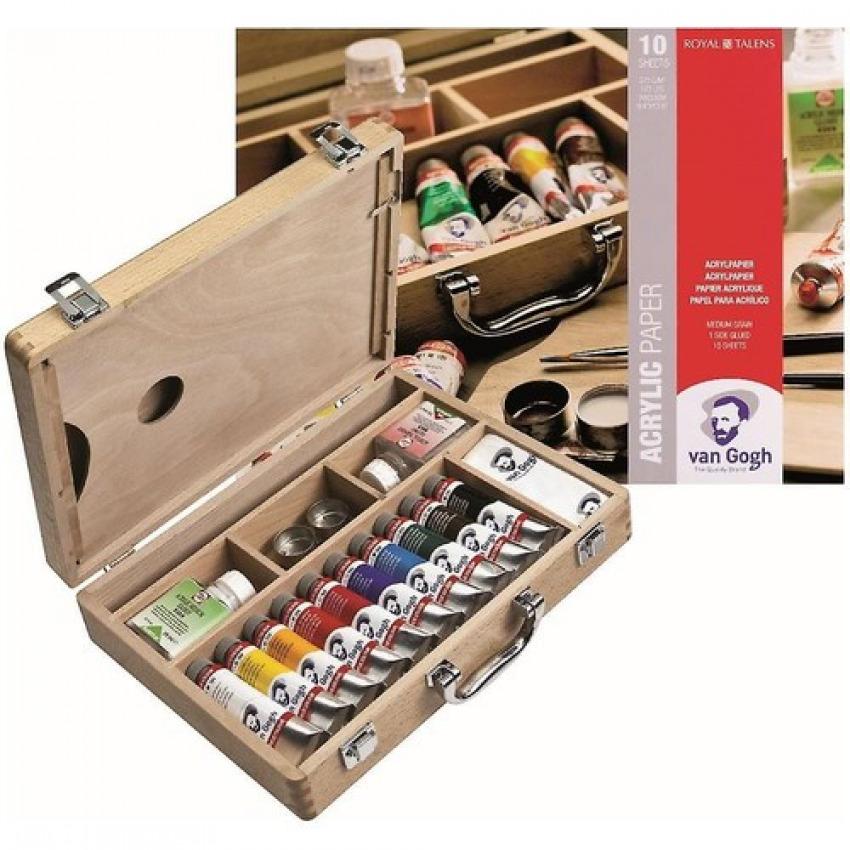 Caja madera 10 tubos de acrilico fino van gogh 40ml 32x24x7cm 8712079307578