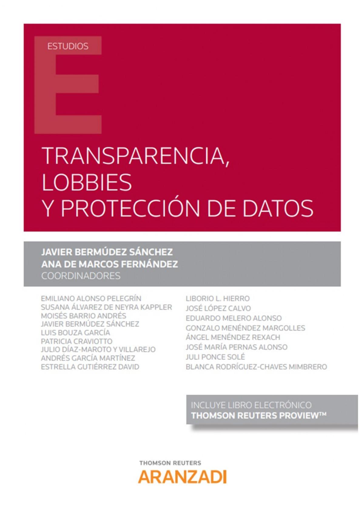 Transparencia, lobbies y protección de datos 9788413453149