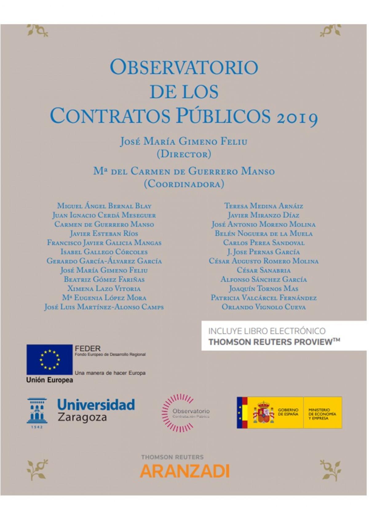 OBSERVATORIO DE LOS CONTRATOS PUBLICOS 2019 DUO 9788413456775
