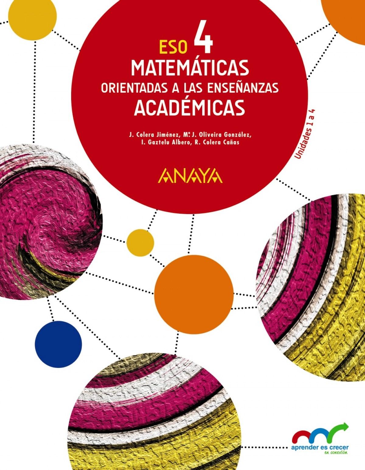 Matemáticas 4o.eso. Académicas. Trimestral. Aprender es crecer en conexión 9788