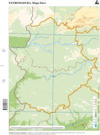 Paq/50 mapas extremadura fisico mudos 9788482893778