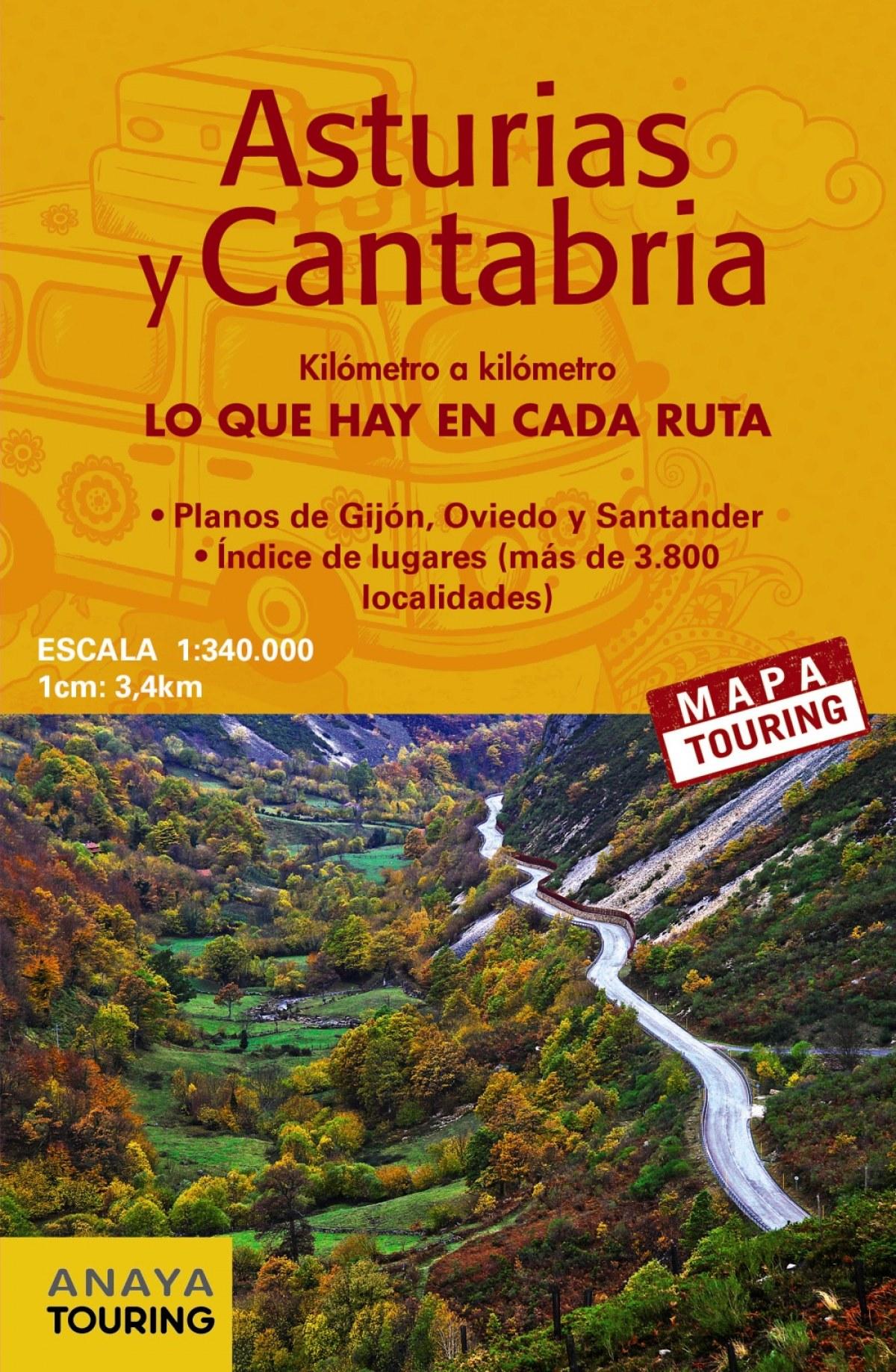 MAPA DE CARRETERAS ASTURIAS Y CANTABRIA 1:340.000 2018 9788491580928