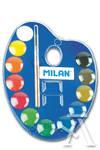 Estuche plastico 12 pastillas de acuarela + 1 pincel colores surtidos milan 8411574027706