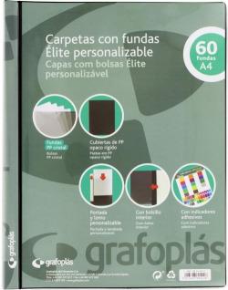 Carpeta personalizable A4 60 fundas soldadas color negro Elite 8413623894246